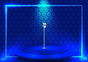 leuchtend blaue Bühne mit Sternmuster vektor