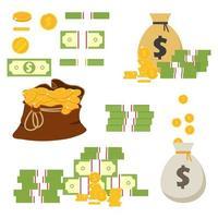 Münzen und Banknoten lokalisiert auf weißem Hintergrund