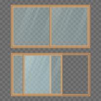 geöffnete und geschlossene Balkonschiebetür isoliert vektor