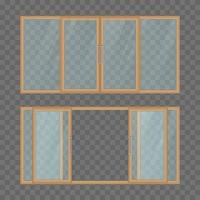 geöffnete und geschlossene Balkonschiebetür vektor