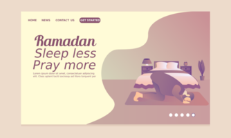 Ramadan Landing Page mit Mann im Schlafzimmer beten vektor
