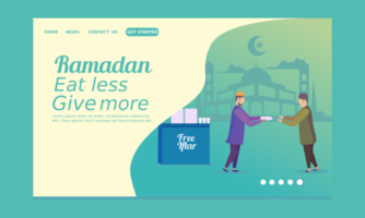Ramadan Landing Page mit Mann, der Essen gibt vektor