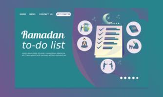 Ramadan-Landingpage mit Ramadan-To-Do-Liste vektor