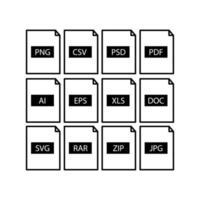 uppsättning filformatikoner