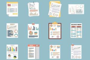 Bürodokumente in flachem Design
