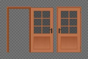 geöffnete und geschlossene Holztür vektor