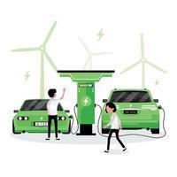 Leute, die Elektroautos aufladen