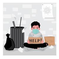 maskierter Obdachloser durch Müll, der Hilfeschild hält vektor