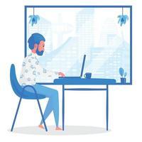 Mann, der von zu Hause aus am Computer am Fenster arbeitet vektor