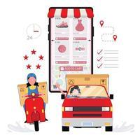 leverans av skoter och bil efter orderlistor från telefon vektor