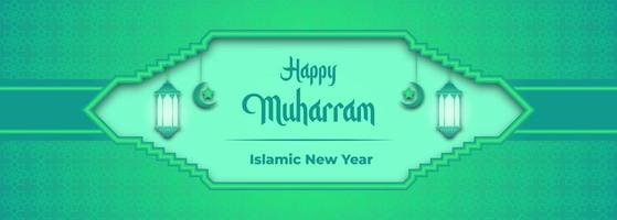 glad muharram grön gradient banner vektor