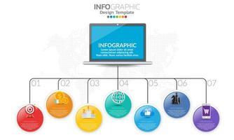 färgglad glansig cirkel 7 alternativ infographic med bärbar dator vektor