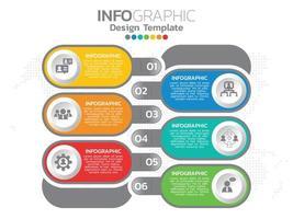 Infografik Vorlage mit 6 bunten abgerundeten Optionen vektor