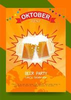 Plakat zum Oktoberfest in Orange und Grün vektor