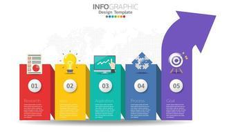 bunte Pfeil Infografik mit 5 Optionen vektor