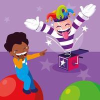 April Narren Junge mit Joker Hut Überraschungsbox
