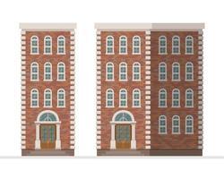 Backstein Stadthaus Wohnung isoliert vektor