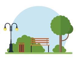 Baum, Bank, Lampe und Mülleimer