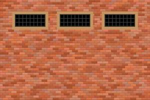 Schlossfenster in Backsteinmauer vektor