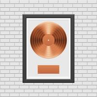 Bronze-Schallplatte mit schwarzem Rahmen