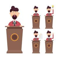Geschäftsmann spricht auf dem Podium