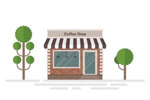 Coffeeshop Gebäude und Bäume vektor