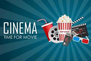 Zeit für ein Filmplakat mit Kinoelementen auf Blau vektor