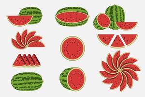 vattenmelonuppsättning isolerad på vitt
