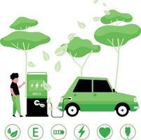 Design für grüne Energie mit Elektroauto