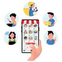 mobil app mat beställning koncept vektor