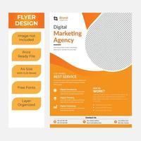vit och orange modern företags affärsreklamblad vektor