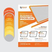 Geschäftsflyer mit orangefarbenen Farbverlaufsakzenten vektor