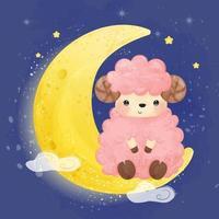 söt rosa baby lamm sitter på månen vektor