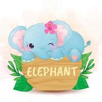 niedlicher Elefantenbaby auf Schild mit Blume im Kopf