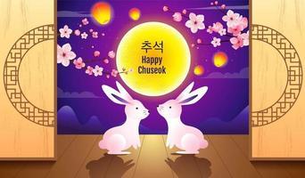 fröhliches Chuseok-Design mit zwei Kaninchen und leuchtendem Himmel vektor