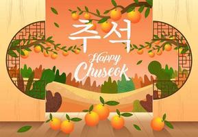 fröhliches Chuseok-Design mit Orangen und Landschaft vektor
