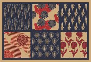 Satz rotes und blaues nahtloses Blumenmuster vektor
