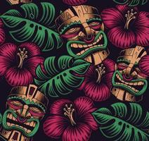 nahtloses Farbmuster mit Tiki-Masken und Blättern vektor