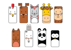 Telefonfall Cartoon Animals vektor