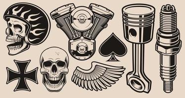 uppsättning av retro mönster med biker tema