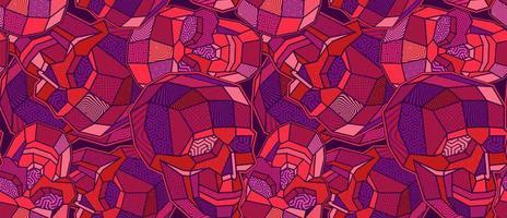 lila och röda tonade polygon skalle sömlösa mönster vektor