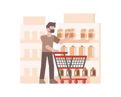 ein Mann, der eine Gesichtsmaske trägt und Lebensmittel kauft
