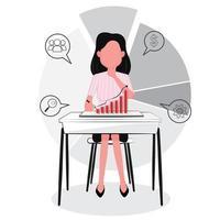 affärskvinna tittar på graf, analyserar framgång