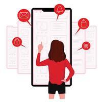 kvinna gör olika online-uppgifter från telefonskärmen vektor