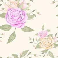 nahtloses Blumenmuster mit Rosen und Blättern vektor
