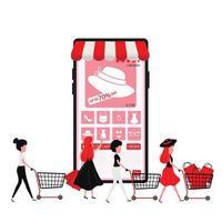 Frau, die Artikel online per Telefon bestellt und Einkaufstaschen hält