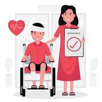 Mann im Rollstuhl mit verbundenem Kopf und Dame, die Anspruch hält vektor