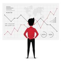 affärsman tittar på grafen medan han analyserar framgångsrik verksamhet