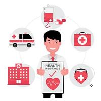 Krankenversicherungsvertreter, der Papierpolitik mit Ikonen herum hält vektor