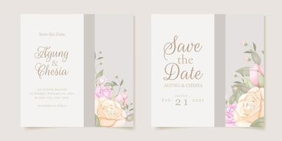 bröllopsinbjudan med blommor vektor